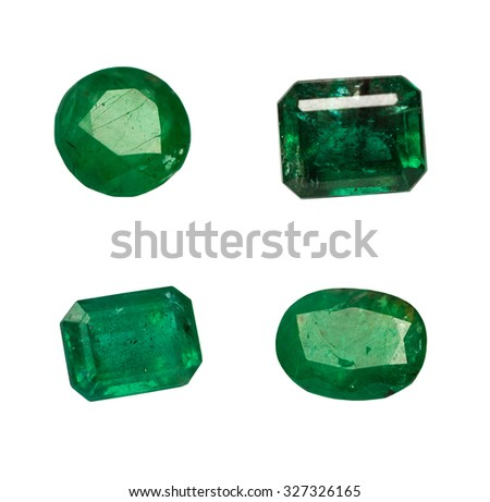 Group Natural Emerald isolated on white background