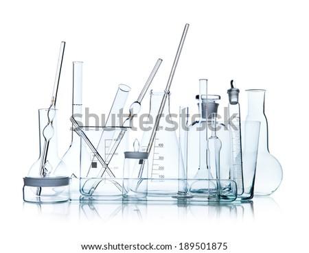group object of  laboratory limpid glassware on white background, isolated,  horizontal photo - stock photo