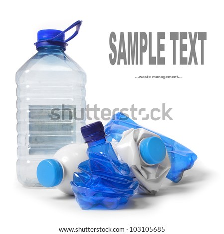 Group of a empty plastic bottles. Waste management concept. - stock photo