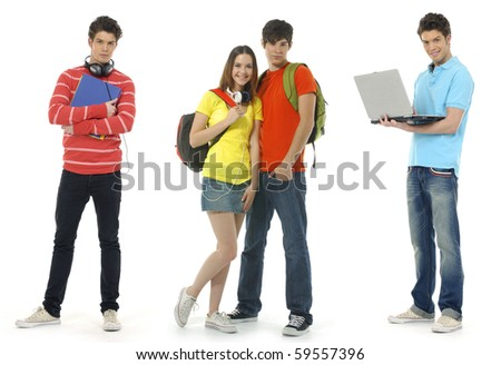 Group of a modern young people- Fashion, education,