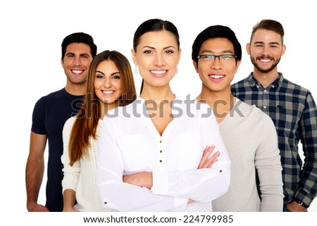 Group of a smiling people standing isolated on a white background - stock photo