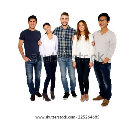 Group of a young happy friends isolated on a white background - stock photo