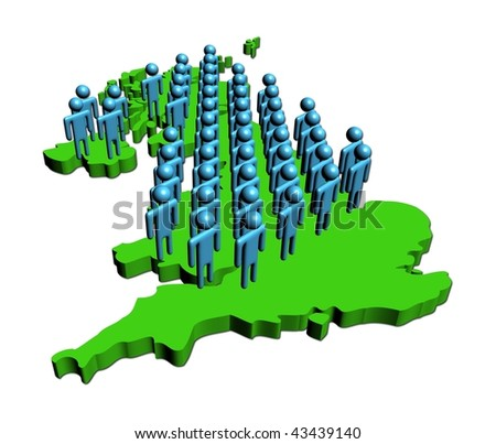 group of abstract people on map of Britain illustration