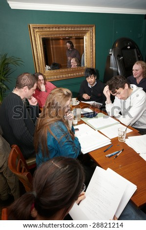 Group of actors at a Script Reading - stock photo