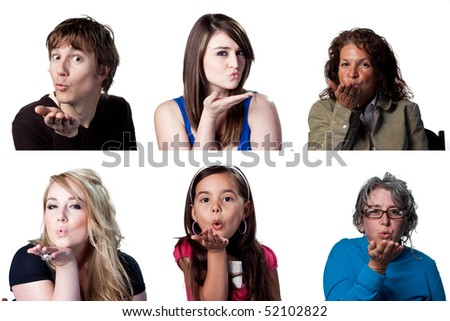Group of actors blowing a kiss to the camera - stock photo