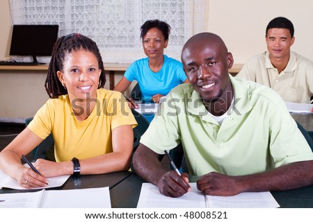 group of adult african american students in classroom - stock photo