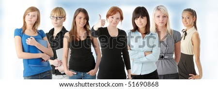 Group of adult woman. Business people or students - stock photo