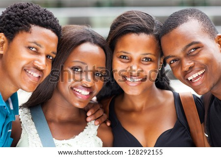 group of african american college students closeup - stock photo