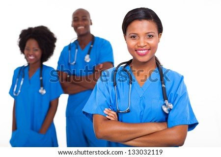 group of african american medical workers on white background