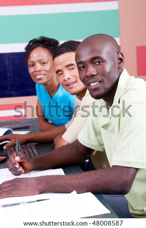 group of african american students - stock photo