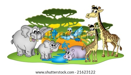 Group of African animal - color illustration. - stock photo