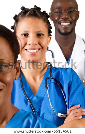 group of african medical professionals on white