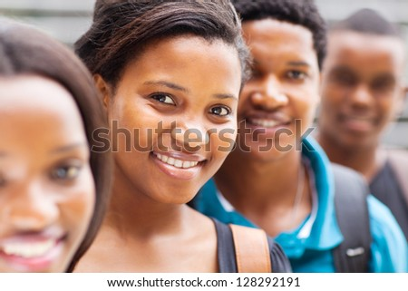 group of african university students closeup