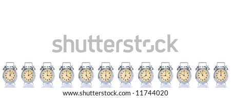 group of alarm clock with times 12 clock on white background - stock photo
