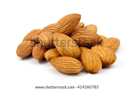 group of almonds isolated on white  background - stock photo