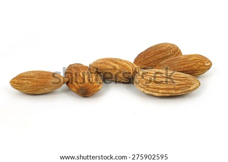 group of almonds on white background - stock photo