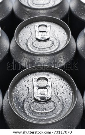 group of an aluminum can of soda - stock photo