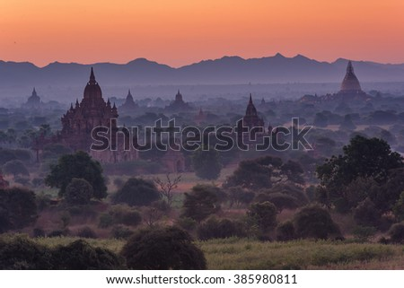 group of ancient pagodas at the scenic sunrise at bagan myanmar