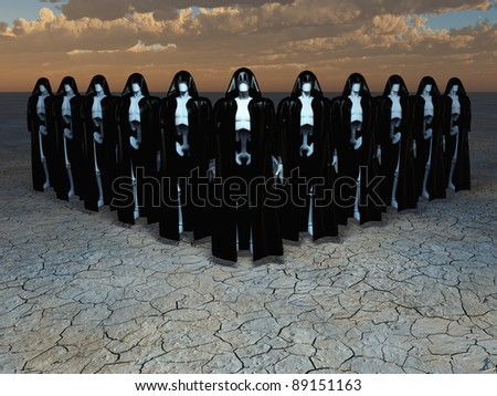 Group of andriods in robes - stock photo