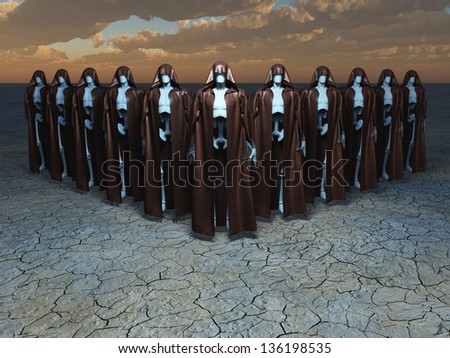 Group of androids in robes - stock photo