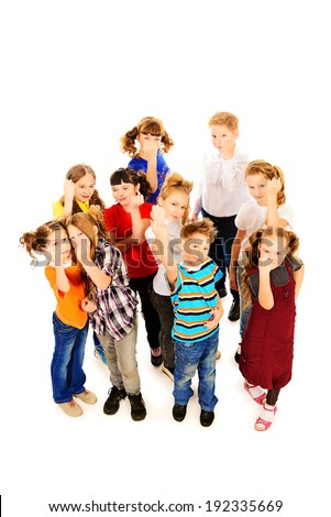 Group of angry children threatens fists into camera. Isolated over white. Full length portrait. - stock photo
