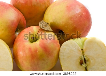 group of  apples isolated over white - stock photo