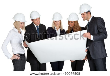 Group of architects discussing blueprint of new construction on white background - stock photo