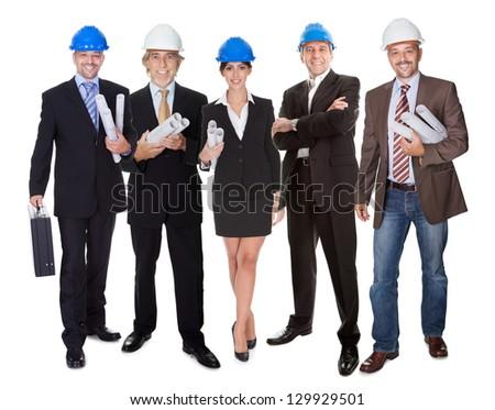 Group of architects. Isolated on white background - stock photo