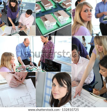 Group of architects working had to meet dead-line - stock photo
