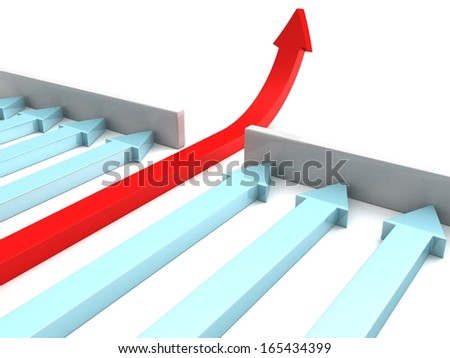 group of arrow with leader red pointing upwards through wall - stock photo