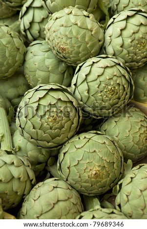 Group of artichokes - stock photo