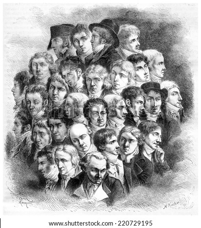 Group of artists, by Boilly, vintage engraved illustration. Magasin Pittoresque 1867. - stock photo