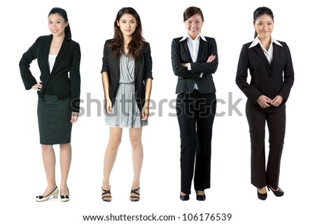 Group of Asian business women. Isolated over white background. - stock photo