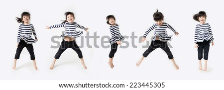 Group of Asian cute child is jumping on white background - stock photo