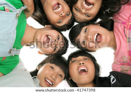 group of asian low angle