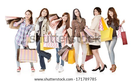 Group of Asian shopping women isolated on white background. - stock photo