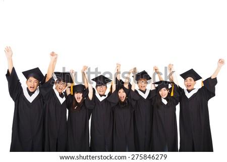 Group Of asian Students Celebrating Graduation - stock photo