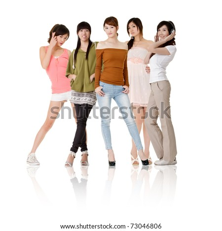 Group of Asian women, isolated on white background. - stock photo