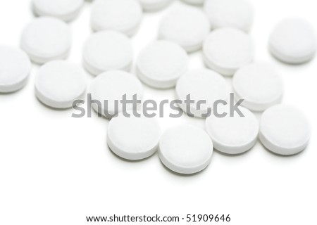 Group of aspirin isolated on white background