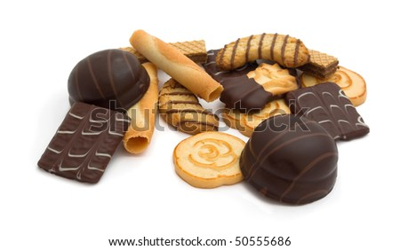 Group of assorted cookies isolated on white - stock photo