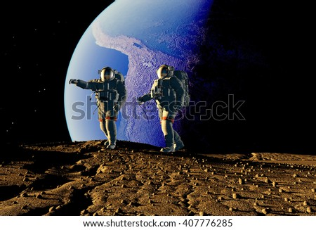"Group of astronauts are on the planet.""Elemen ts of this image furnished by NASA"",3d render"