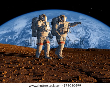 "Group of astronauts are on the planet.""Elements of this image furnished by NASA"" - stock photo"