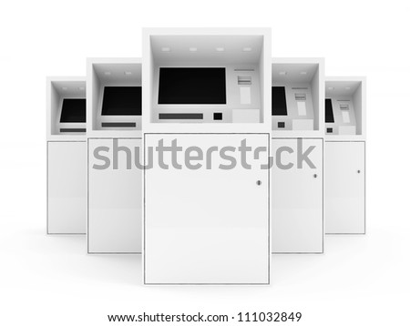 Group of ATM Machines isolated on white background - stock photo