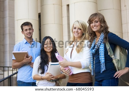 Group of Attractive Students - stock photo