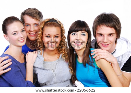 Group of attractive young adult people - isolated on white - stock photo