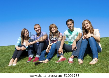 Group of Attractive Young People hanging out - stock photo