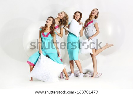 Group of attractive young pregnant women - stock photo