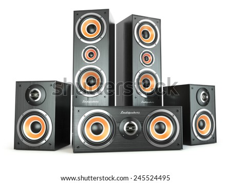 Group of audio speakers. Loudspeakers isolated on white. 3d - stock photo
