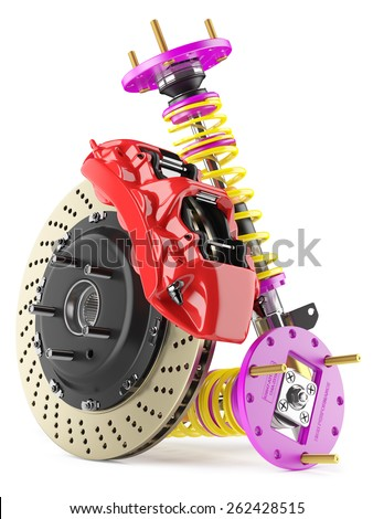 Group of auto parts. Automobile braking system. Aeration steel brake disk with perforation and red six pistons calipers and pads. Set of tuning suspension shock absorbers with yellow springs.  - stock photo
