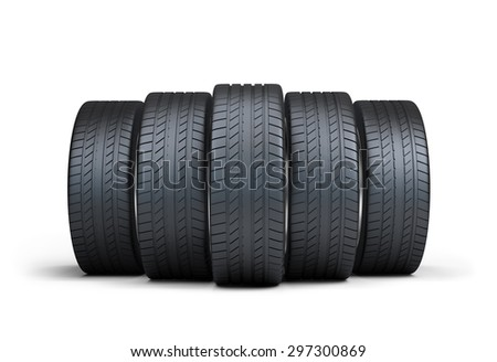 Group of automotive tires. 3d image. White background.